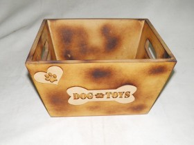 Hand Made Wooden Toy Box for a Dog and Cats Beige Color