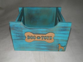 Hand Made Wooden Toy Box for a Dog and Cats Blue Color