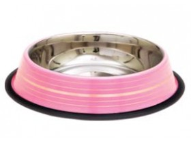 Colored Silver Strips Non Tip Anti Skid Dishes Pink Dish